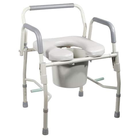 Drive Medical Steel Drop Arm Bedside Commode with Padded Seat and Arms - Grey