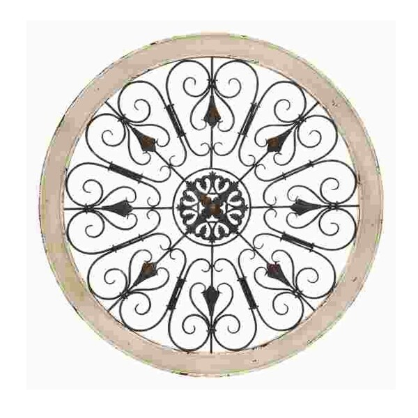 Round Intricate Metal Scrollwork Wall Decor with Wooden Frame, Cream and Brown. Opens flyout.