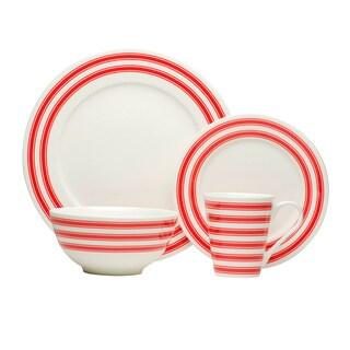 Red Race Stripe White Dinner Set (Set of 16)