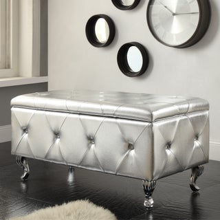 Glam Leather Upholstered Tufted Storage Bench (Option: Silver)