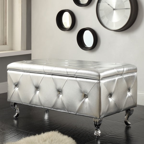 Glam Leather Upholstered Tufted Storage Bench & Shop Glam Leather Upholstered Tufted Storage Bench - On Sale - Free ...