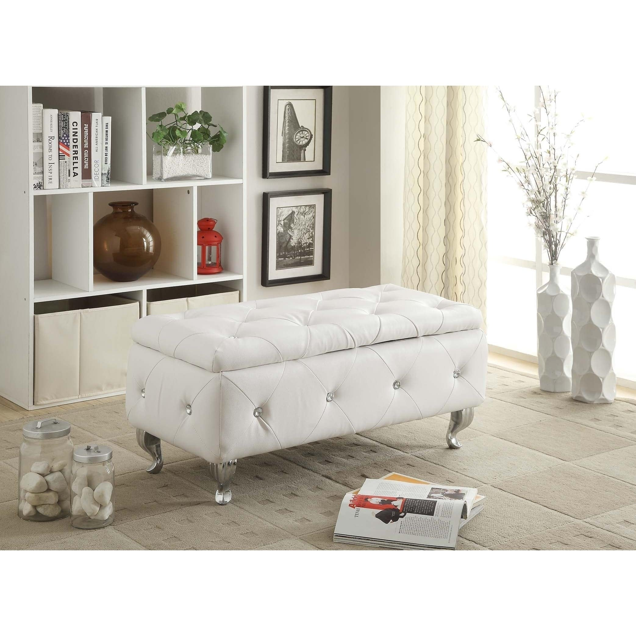 Glam Leather Upholstered Tufted Storage Bench Silver Seat Bedroom ...