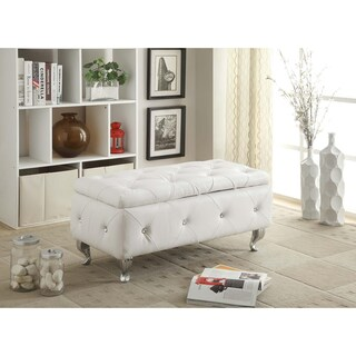 Glam Leather Upholstered Tufted Storage Bench (Option: White)