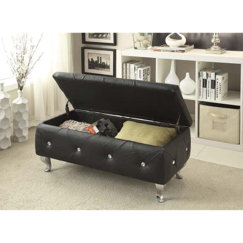 Leather or Fabric Upholstered Tufted Storage Bench