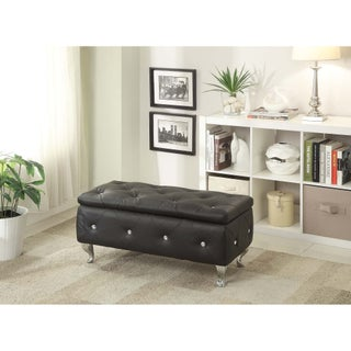 Leather Upholstered Tufted Storage Bench