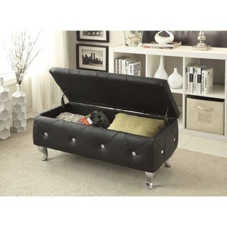 Glam Leather Upholstered Tufted Storage Bench