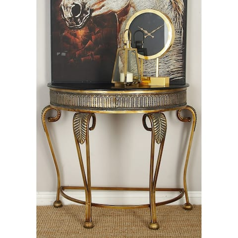 Traditional 33 x 41 Inch Demilune Console Table by Studio 350