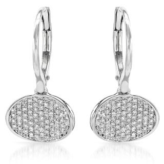 14k White Gold 1/5ct TDW Pave Diamond Leverback Earrings