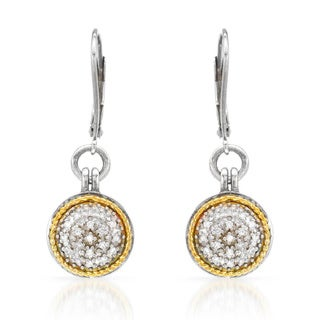 14k Two-tone Gold and Silver 1/5ct TDW Diamond Leverback Earrings