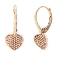 14k Rose Gold Heart Diamond Accent Leverback Earrings (G-H, SI1-Si2)