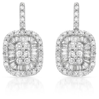 14k White Gold 1ct TDW Baguette and Round-Cut Diamond Earrings
