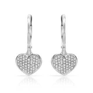 14k White Gold 1/5ct TDW Diamond Heart Earrings (H-I, SI1-SI2)