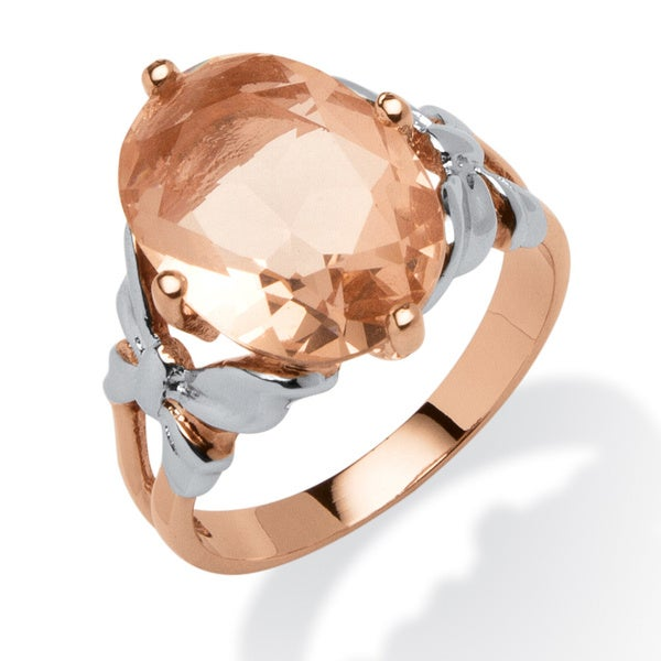 Oval Morganite Cocktail Ring in Rose Gold Over Sterling Silver and Sterling Silver Color F