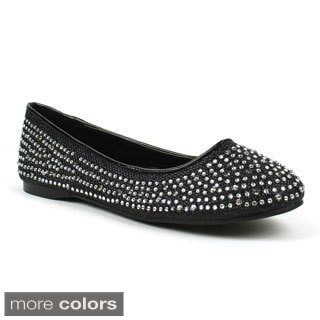 Mark & Maddux Women's 'Amor-01' Netted-glitter Rhinestone Ballerina Flats