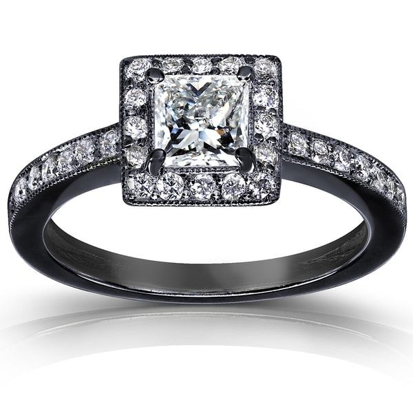 Annello by Kobelli 14k Gold 3/4ct TDW Diamond Halo Ring with Black Ceramic Coating (H-I,