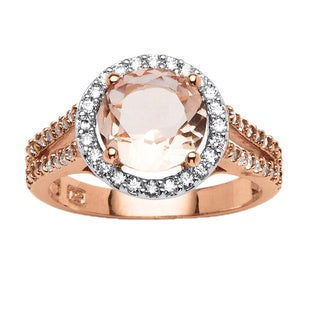 18K Rose Gold Pink Morganite and 1/2ct TCW Cubic Zirconia Halo Ring