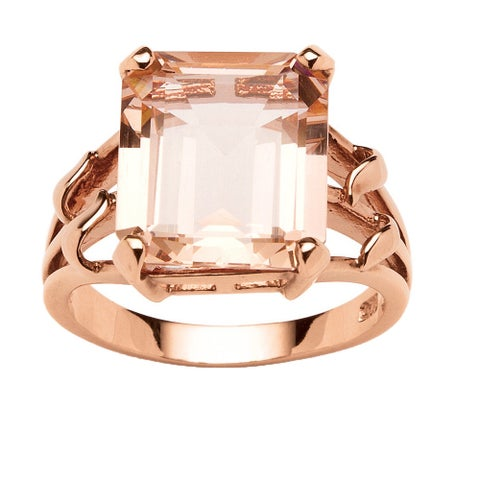 18k Rose Gold over Sterling Silver Emerald-cut Simulated Morganite Ring - White