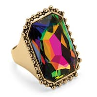 Emerald-Cut Aurora Borealis Cocktail Ring in 14k Gold-Plated Bold Fashion