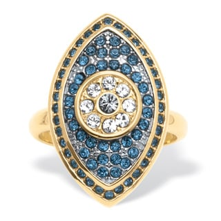 PalmBeach Marquise-Shaped Blue Pave Crystal Eye Ring in 14k Gold-Plated Bold Fashion