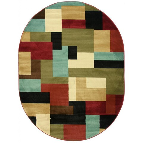 "Well Woven Patchwork Red Oval Rug - Multi - 5'3"" x 6'10"""