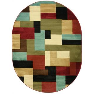 Patchwork Red Area Rug (5'3 x 6'10 Oval)