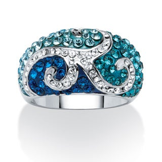 PalmBeach Teal, Blue and Aqua Crystal Scroll Ring Made With SWAROVSKI ELEMENTS Color Fun
