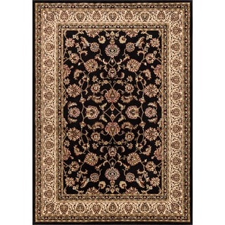 Ariana Palace Oriental Persian Floral Border Black and Ivory Sarouk Area Rug (2'3 x 3'11)