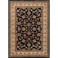 Well Woven Ariana Palace Oriental Persian Floral Border Black and Ivory Sarouk Mat Accent Rug - 2'3 x 3'11