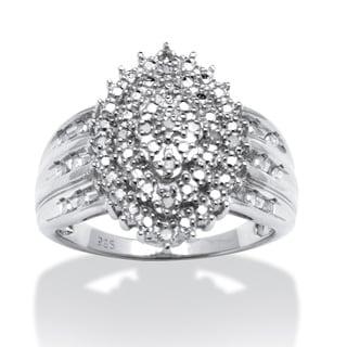 PalmBeach 1/3 TCW Round Diamond Platinum over Sterling Silver Marquise-Shaped Cluster Ring