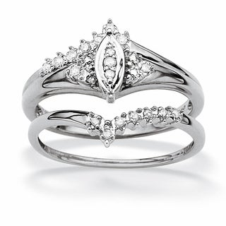 1/10 TCW Round Diamond 10k White Gold Marquise-Shaped Bridal Engagement Ring Set