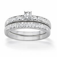 Platinum/Sterling Silver 1/7 TCW Round Diamond Pave Bridal Ring Set