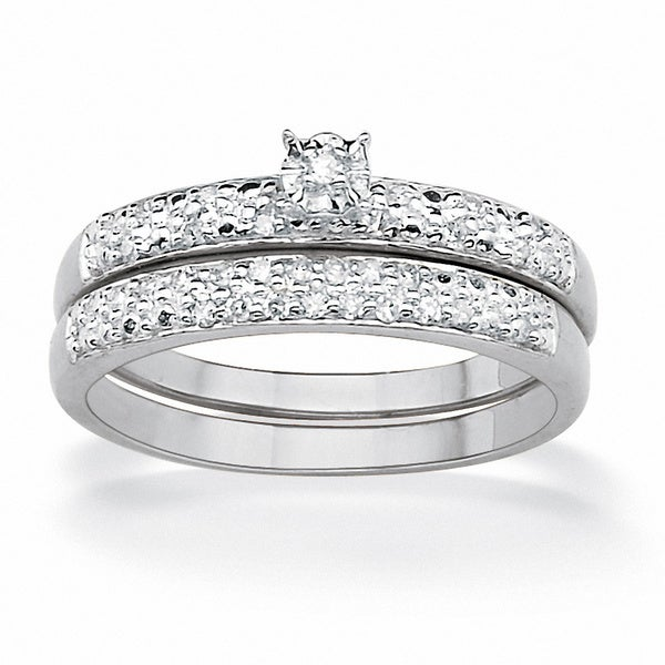 Platinum/Sterling Silver 1/7 TCW Round Diamond Pave Bridal Ring Set