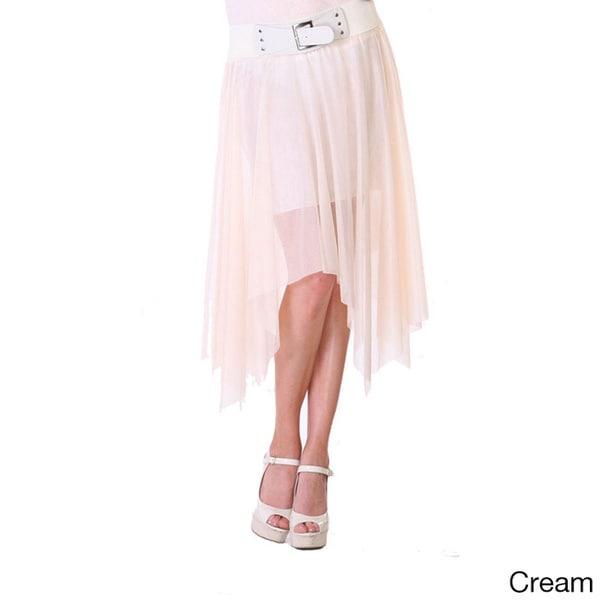 Stanzino Women's Belted Chiffon Asymmetric Hem Skirt