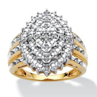 PalmBeach 1/3 TCW Round Diamond Marquise-Shaped Cluster Ring in 18k Gold over Sterling Silver