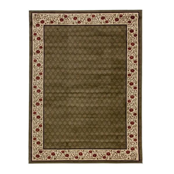 Terrazzo Green Traditional Bordered Area Rug (2'3 x 3'11)