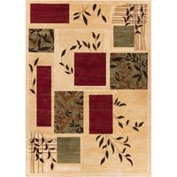 Hannover Floral Nature Boxes Contemporary Ivory Beige Green and Red Area Rug - 2'3 x 3'11