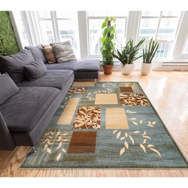 Well Woven Amelia Light Blue Beige Brown Geometric Boxes Leaves Formal Plain Area Rug - 7'10 x 9'10