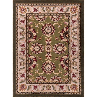 Well Woven Antep Oriental Floral Border Medallion Persian Green, Ivory, and Beige Door Entryway Mat Accent Rug - 2'7 x 3'11