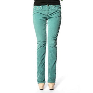 Stitch's Women's Slim Fit Green Corduroy Straight Leg Jeans