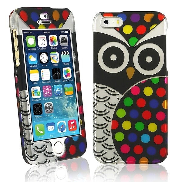 INSTEN Black Owl Rubber Coated Phone Case Cover for Apple iPhone 5/ 5S