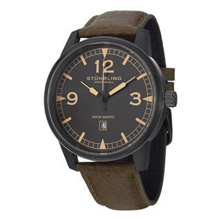Stuhrling Original Men's Condor Swiss Quartz Military Green Leather Strap Watch