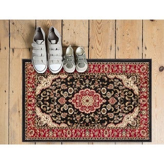 """Well Woven Medallion Traditional Kashan Formal Medallion Floral Black Mat Accent Rug - 2'3"""" x 3'11"""""""