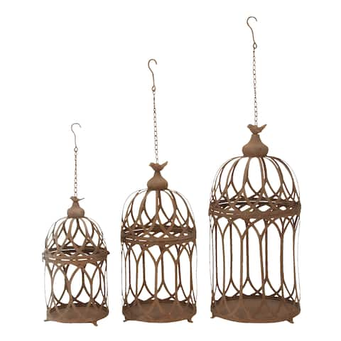 The Curated Nomad Lotta Fine Detail Brown Metal Hanging Planters (Set of 3)
