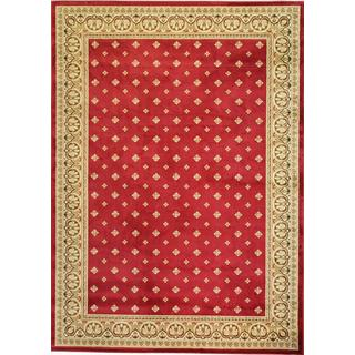 Dallas Formal European Floral Border Diamond Field Red, Beige, and Ivory Area Rug (2'3 x 3'11)