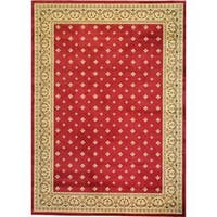 "Well Woven Dallas Formal European Floral Border Diamond Field Red, Beige, and Ivory Mat Accent Rug - 2'3"" x 3'11"""