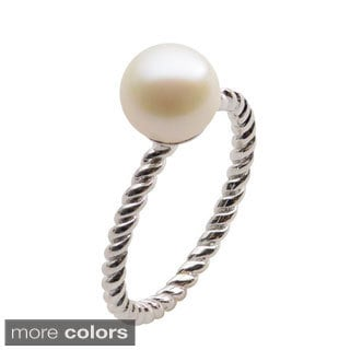Sterling Silver White or Dyed Freshwater Pearl Ribbed Ring (8-8.5 mm)