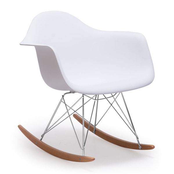 Modern White Molded Seat, Wood and Steel Avant-Garde Rocket Chair