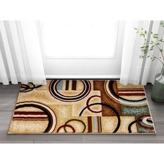 Arcs and Shapes Natural Modern Abstract Ivory, Beige, Brown, Blue and Red Area Rug (2'3 x 3'11)