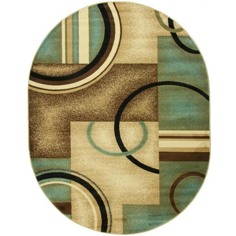 """Well Woven Generations Modern Abstract Geometric Circles Light Blue, Beige, Ivory, and Brown Oval Rug - 5'3"""" x 6'10"""""""