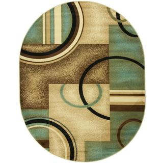 Generations Modern Abstract Geometric Circles Light Blue, Beige, Ivory, and Brown Oval Area Rug (5'3 x 6'10)